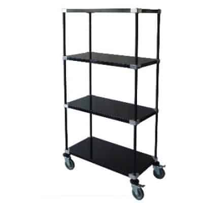 4 posts 4 tier black epoxy solid shelf carts(400x400)